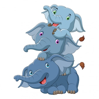 Três, cute, bebê, elefante
