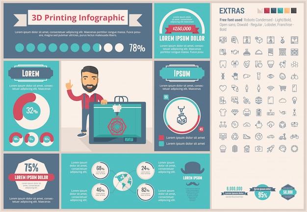 Três d impressão design plano infográfico modelo e conjunto de ícones