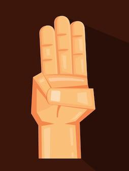 Três dedos em uma ilustração de desenho animado