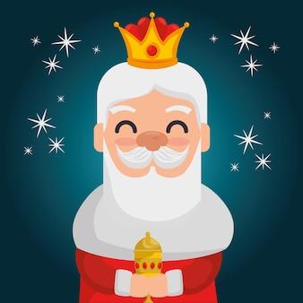 Três desenhos animados de melharuco de reis mágicos