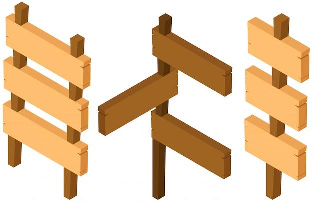 Três desenhos de sinais de madeira