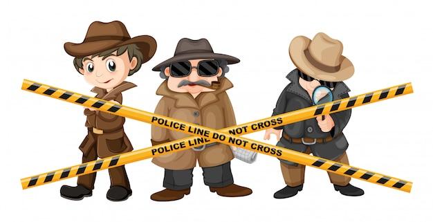 Três detetives procurando por pistas