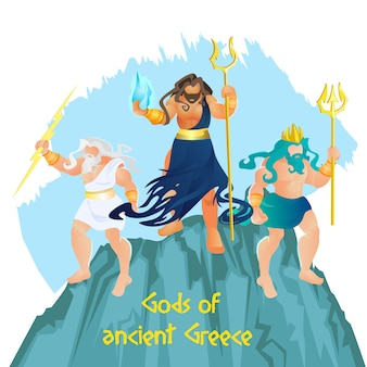 Três deuses gregos antigos hades, zeus e poseidon
