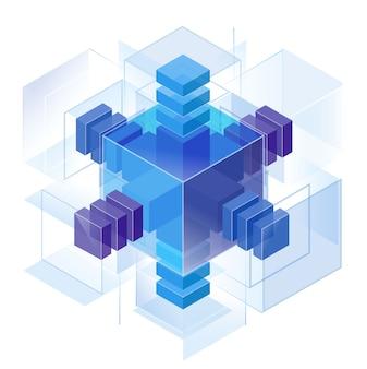 Três direções de eixos de medição, montados em uma construção de quebra-cabeça de blocos. um ouriço cristalino em busca da perfeição. símbolo geométrico de todas as coisas. origem. sistema de referência do espaço.