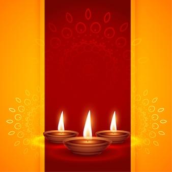 Três diya realista para o festival de diwali