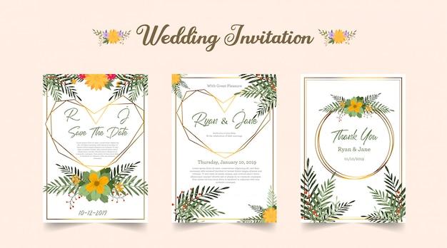 Três, dobrado, convite casamento, com, folhaçada, flor alaranjada