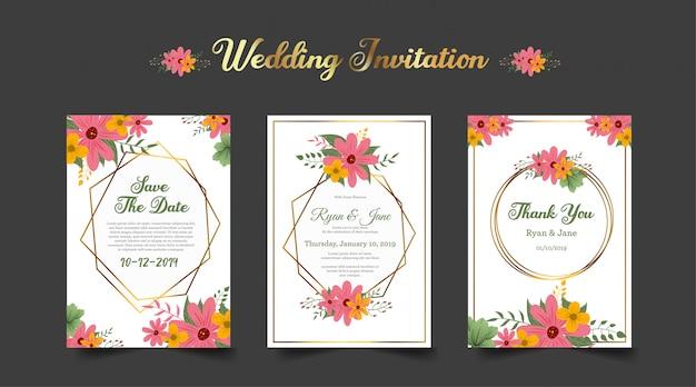 Três, dobrado, convite casamento, com, vermelho, flor alaranjada