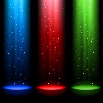 Três eixos de luz rgb