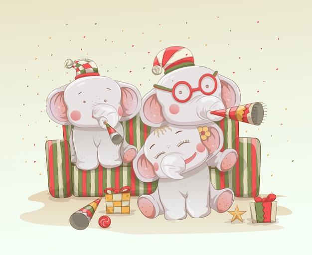 Três elefantes de bebê fofo comemoram o natal e ano novo juntos