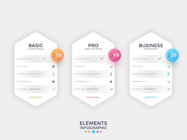 Três elementos hexagonais de papel branco separados com indicação de preço e lista de opções ou recursos internos. conceito de 3 planos de assinatura. modelo de design moderno infográfico. ilustração vetorial.