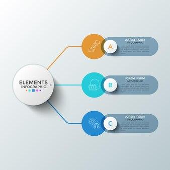 Três elementos redondos coloridos com símbolos lineares dentro e caixas de texto conectadas ao círculo principal. conceito de 3 etapas sucessivas de desenvolvimento de startups. modelo de design do infográfico. ilustração vetorial