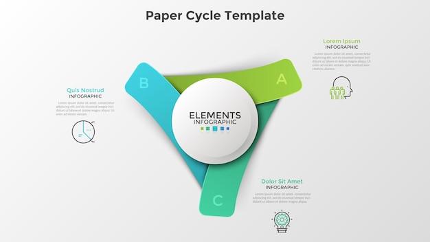 Três elementos retangulares coloridos de papel colocados ao redor do círculo branco. modelo de design de infográfico realista. ilustração em vetor moderno para visualização de processos de negócios cíclicos, apresentação.
