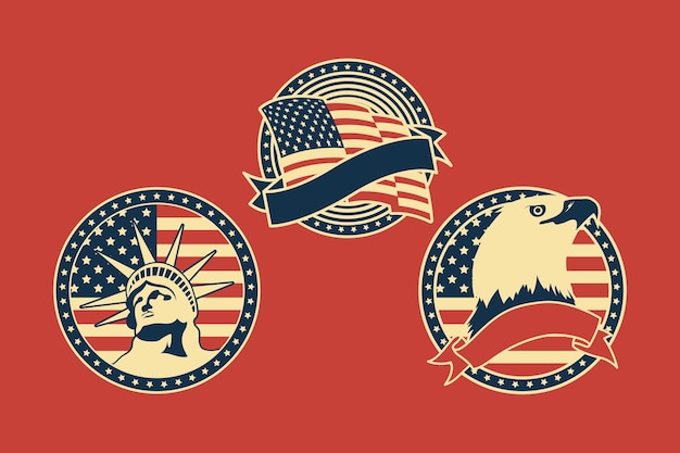Três emblemas dos eua