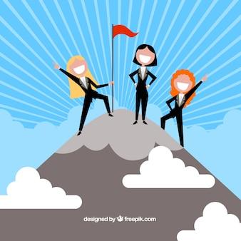 Três empresária feliz no topo