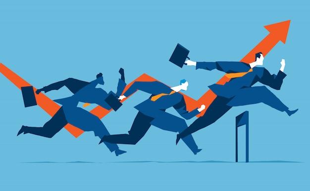 Três empresários correndo sobre os obstáculos