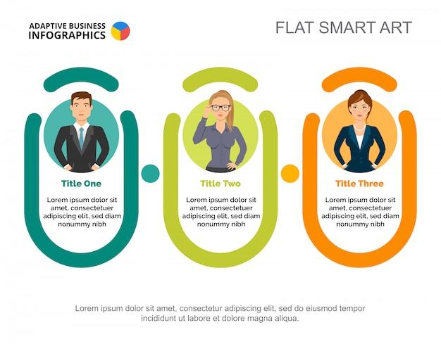 Três empresários processam o modelo de gráfico para apresentação. visualização de dados corporativos.