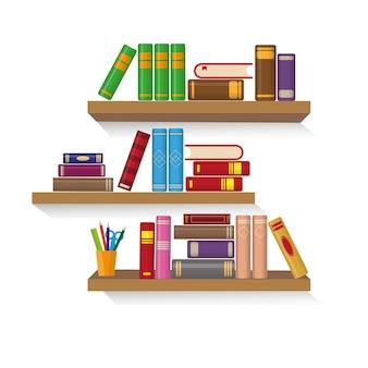 Três estantes com diferentes livros coloridos.