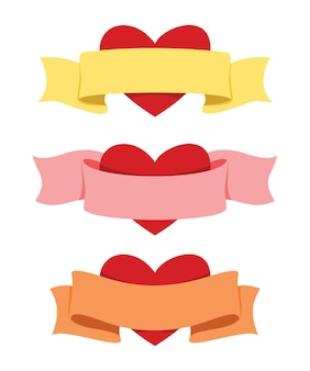 Três estilos de fita e coração para a decoração do dia dos namorados.