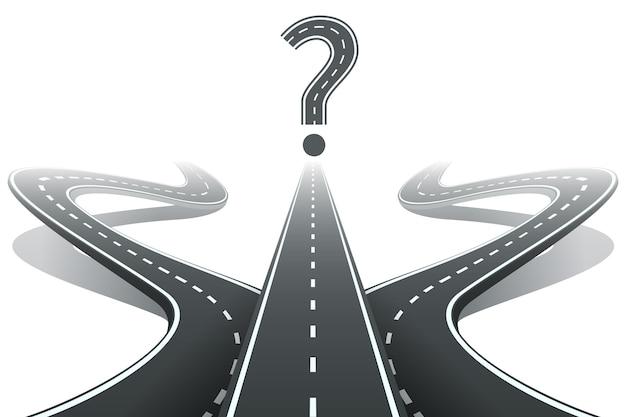 Três estradas e ponto de interrogação.