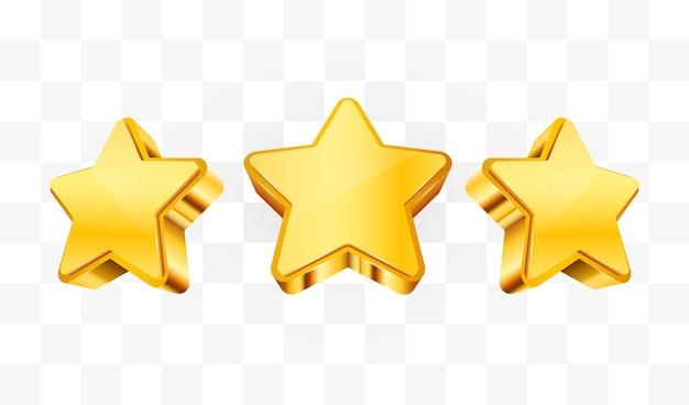 Três estrelas douradas. conceito de realização.