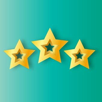 Três estrelas velhas de origami realista sobre um fundo azul.