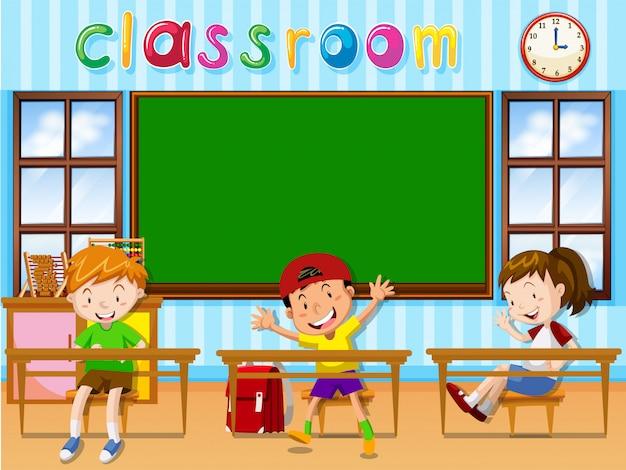 Três, estudantes, em, sala aula