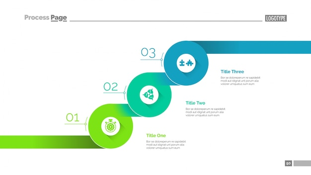 Três etapas progressivas, modelo de slide