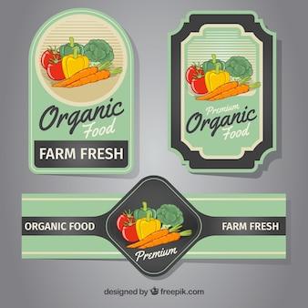 Três etiquetas com vegetais coloridos