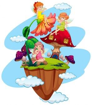 Três fadas e casa de cogumelos