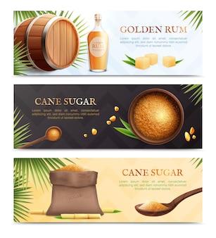 Três faixas horizontais realistas de açúcar de cana com descrições de rum dourado e açúcar