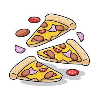 Três fatias de pizza italiana deliciosa com vegetais em uma ilustração fofa de arte de linha