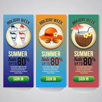Três férias de verão banner vertical modelo ilustração vetorial