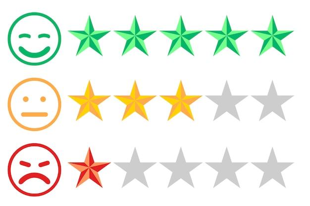 Três filas de estrelas de números diferentes