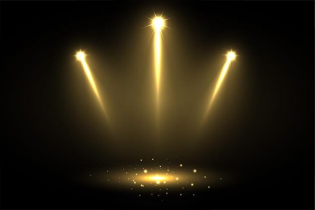Três focos de foco brilhantes apontando para o centro