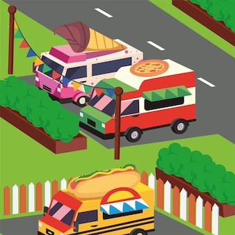 Três food trucks isométricos no festival