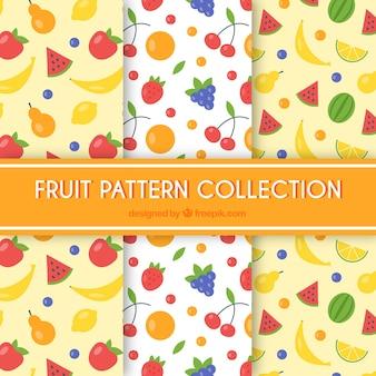 Três, fruta, padrões, apartamento, desenho