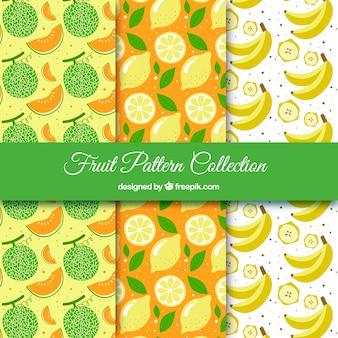 Três, fruta, padrões