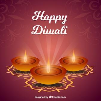 Três fundo decorativo de velas de diwali