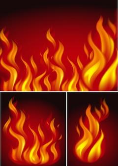 Três fundos com fogo