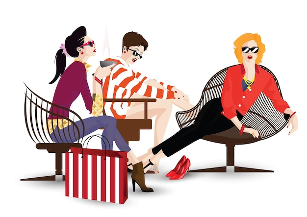 Três garotas na moda em estilo pop art. ilustração vetorial
