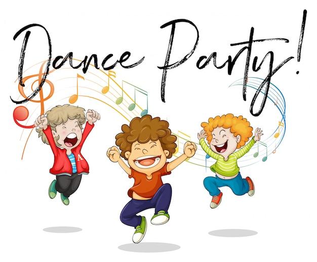 Três garotos dançando com notas musicais nas costas