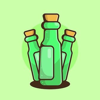 Três garrafas verdes com estilo cartoon