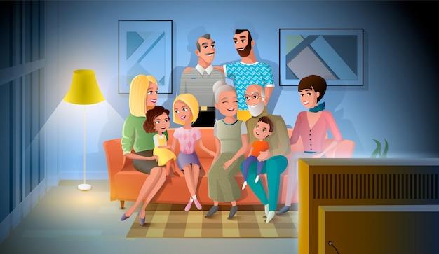 Três gerações de grande família falando