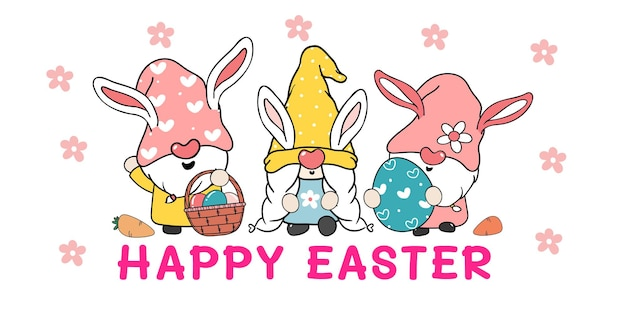 Três gnomos fofos e doces coelhinhos da páscoa com ilustração de orelhas de coelho