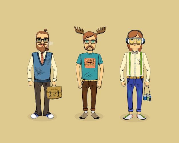 Três homens hipster com cachimbo, chifres e câmera