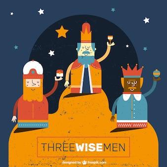 Três homens sábios engraçado ilustração