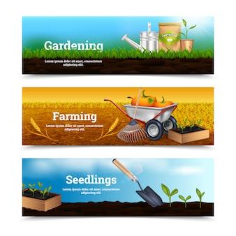 Três, horizontais, jardinagem, bandeiras