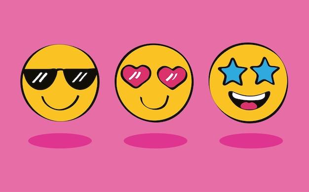 Três ícones de emojis
