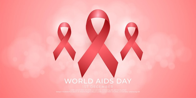 Três ícones de fita vermelha em fundo rosa adequados para a campanha do dia mundial anti-sida