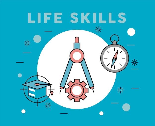 Três ícones de habilidades para a vida